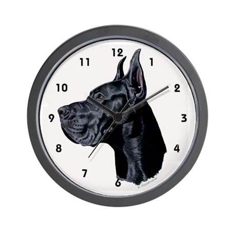 Black Great Dane Wall Clock