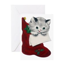 Vintage Style Kitten Christmas Greeting Card