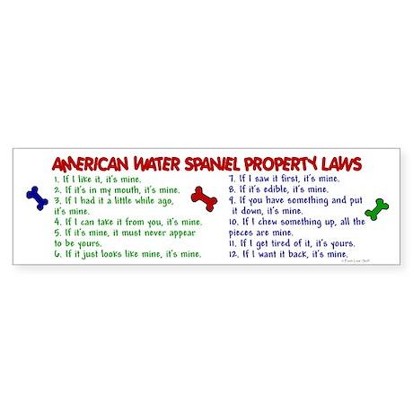American Water Spaniel Property Laws 2 Sticker (Bu