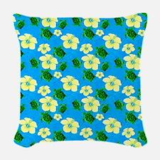 Yellow Hibiscus Hawaiian Pattern Woven Throw Pillo