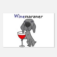 Weimaraner with Wine Postcards (Package of 8)