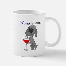 Weimaraner with Wine Mugs
