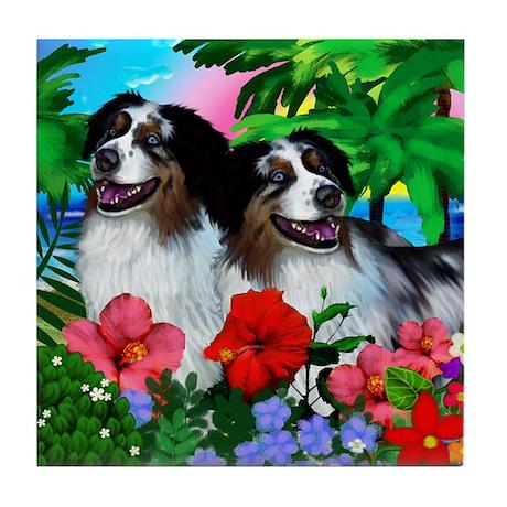 AUSTRALIAN SHEPHERD DOGS TROPICAL Tile Coaster