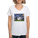 Starry / Fox Terrier (#1) Women's V-Neck T-Shirt