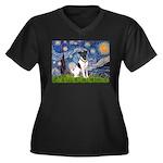 Starry / Fox Terrier (#1) Women's Plus Size V-Neck