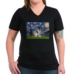 Starry / Fox Terrier (#1) Women's V-Neck Dark T-Sh
