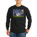 Starry / Fox Terrier (#1) Long Sleeve Dark T-Shirt