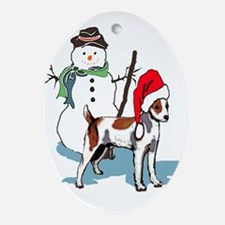 Jack Russell Christmas Oval Ornament
