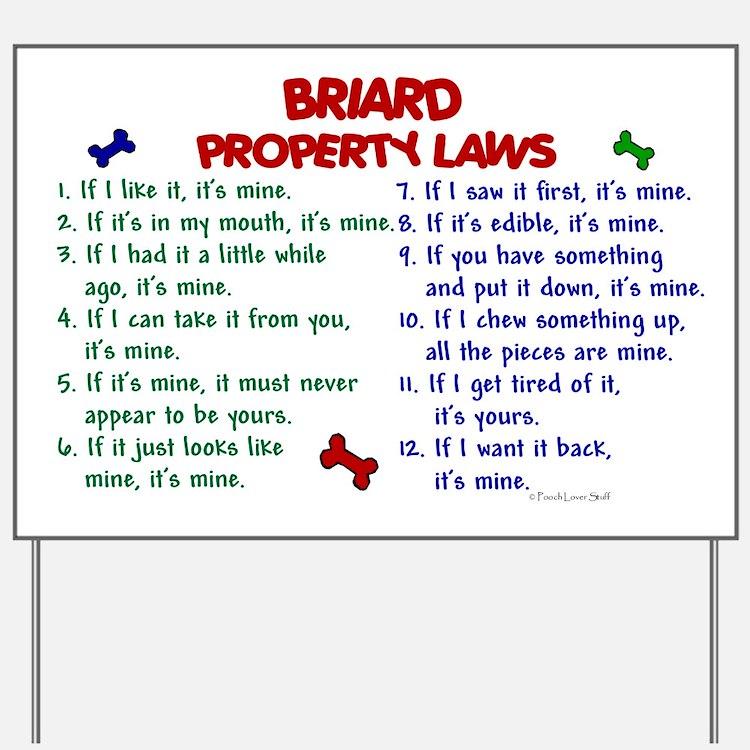 Briard Property Laws 2 Yard Sign