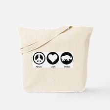 Peace Love Rhino Tote Bag