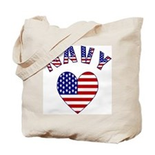 USA Navy Heart Tote Bag