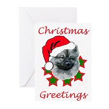 keeshond christmas Greeting Cards (Pk of 10)