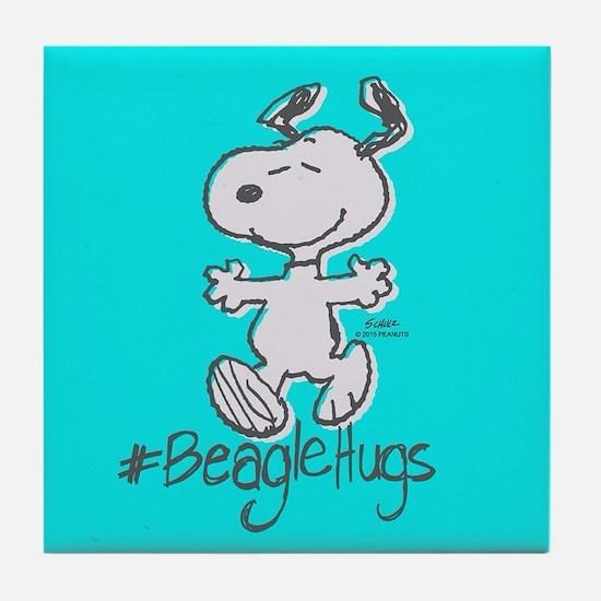 Snoopy Beagle Hugs Full Bleeds Tile Coaster