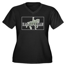 Unique Hanoverian Women's Plus Size V-Neck Dark T-Shirt
