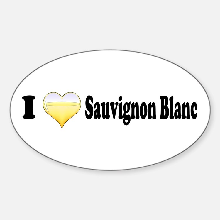 I Love Sauvignon Blanc Oval Decal