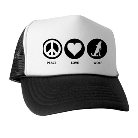 Peace Love Wolf Trucker Hat