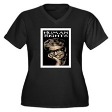 HUMAN RIGHTS Women's Plus Size V-Neck Dark T-Shirt