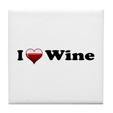 I Love Red Wine Tile Coaster