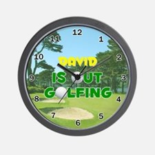 David is Out Golfing - Wall Clock