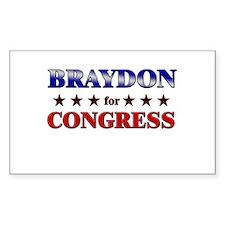 BRAYDON for congress Rectangle Decal