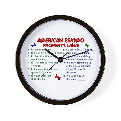 American Eskimo Property Laws 2 Wall Clock