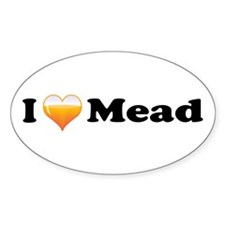 I Love Mead Oval Decal
