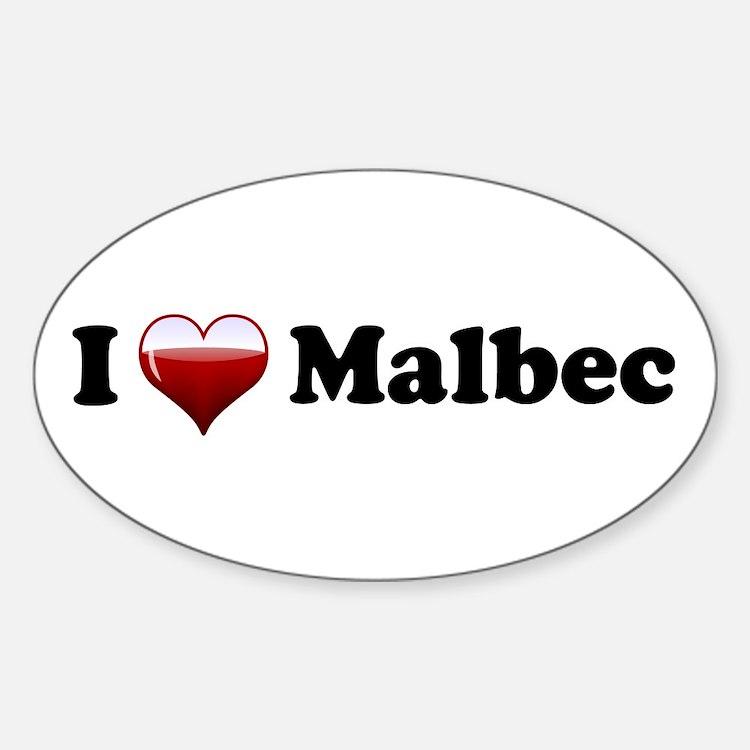 I Love Malbec Oval Decal