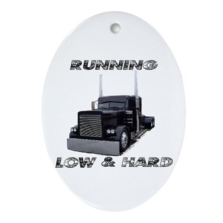 Running Low & Hard Oval Ornament
