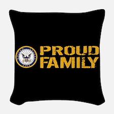 U.S. Navy: Proud Family (Black Woven Throw Pillow