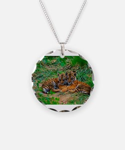 Cute tiger cubs cuddling Necklace