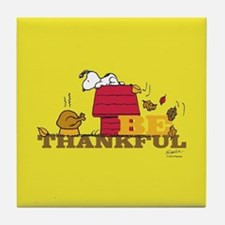 Peanuts - Be Thankful Full Bleed Tile Coaster