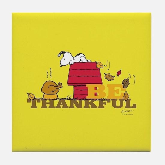 Peanuts - Be Thankful Full Bleed Tile Coaster