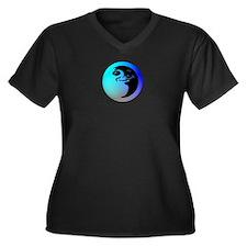 Moon Women's Plus Size V-Neck Dark T-Shirt