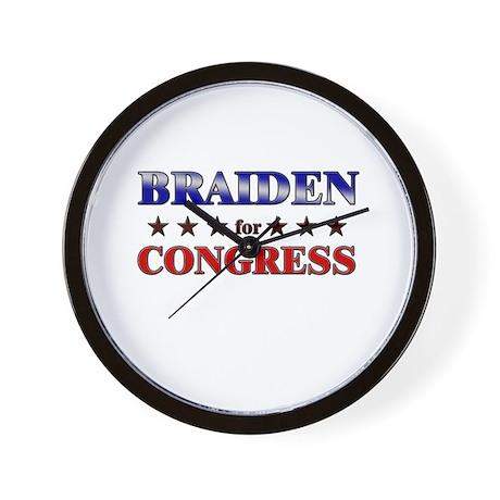 BRAIDEN for congress Wall Clock