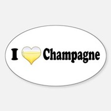 I Love Champagne Oval Decal