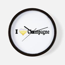 I Love Champagne Wall Clock