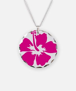 Hot Pink Hibiscus Flower Necklace