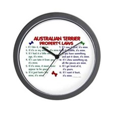 Australian Terrier Property Laws 2 Wall Clock