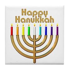 Happy Hanukkah Rainbow Menorah Tile Coaster