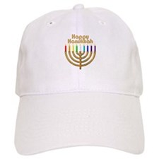 Happy Hanukkah Rainbow Menorah Baseball Cap