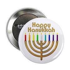 """Happy Hanukkah Rainbow Menorah 2.25"""" Button"""