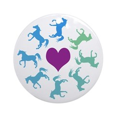 Blue Circle of Horses Ornament (Round)