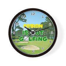 Fabian is Out Golfing - Wall Clock