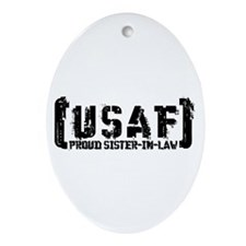 Proud USAF SisNlaw- Tatterd Style Oval Ornament