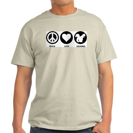 Peace Love Squirrel Light T-Shirt