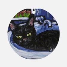 BLACK CAT in sink Design Keepsake (Round)