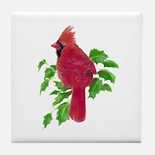 Watercolor Cardinal Bird and Holly Ch Tile Coaster