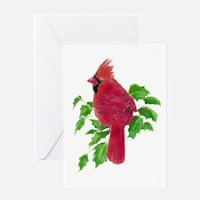 Watercolor Cardinal Bird and Holly Greeting Cards