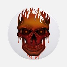 Flame Skull Round Ornament