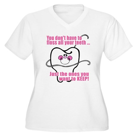 You don't have to floss Women's Plus Size V-Neck T